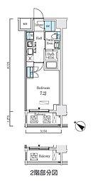 都営浅草線 人形町駅 徒歩9分の賃貸マンション 7階1Kの間取り