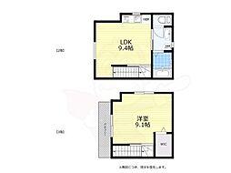 京王線 八幡山駅 徒歩2分の賃貸アパート 2階1LDKの間取り