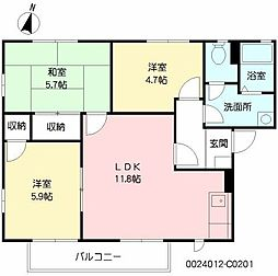 福岡県北九州市八幡西区御開4丁目の賃貸アパートの間取り