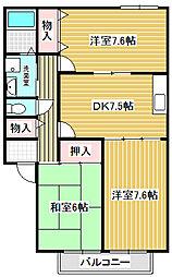 愛知県名古屋市中川区かの里3の賃貸アパートの間取り