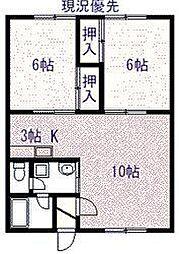永山817ハイツ 1階2LDKの間取り