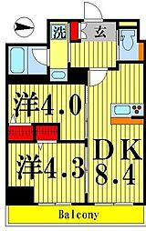 ティモーネグランデ錦糸町 6階2DKの間取り