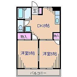 神奈川県横浜市港北区富士塚の賃貸アパートの間取り