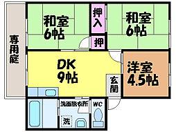 愛媛県松山市北土居3丁目の賃貸アパートの間取り