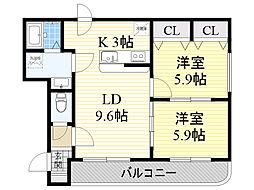 北海道札幌市東区北16条東3丁目の賃貸マンションの間取り