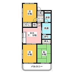 愛知県名古屋市中川区法華2丁目の賃貸マンションの間取り