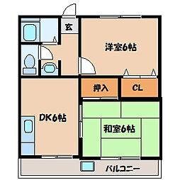 神奈川県相模原市南区東林間6の賃貸アパートの間取り