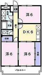 兵庫県姫路市飾磨区阿成鹿古の賃貸マンションの間取り