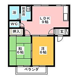 シモン滝の水 A棟[2階]の間取り