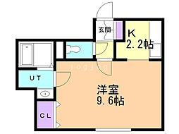 ポラリス恵み野駅前 2階1Kの間取り