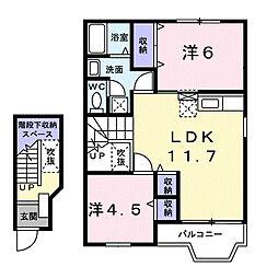 神奈川県座間市新田宿の賃貸アパートの間取り