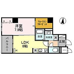 石川県金沢市北安江1丁目の賃貸マンションの間取り