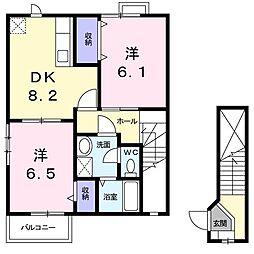 群馬県前橋市富士見町時沢の賃貸アパートの間取り