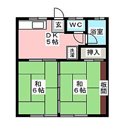 タカノハハイツ1号棟[1階]の間取り