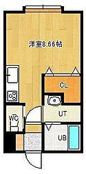 東林ハイツA棟 2階ワンルームの間取り