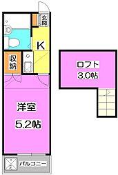 東京都練馬区石神井台3丁目の賃貸アパートの間取り