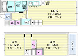 メゾン・ビート 1階2LDKの間取り