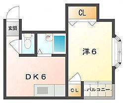 ウイングオオハシ[1階]の間取り