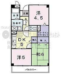 大阪府八尾市教興寺1丁目の賃貸マンションの間取り
