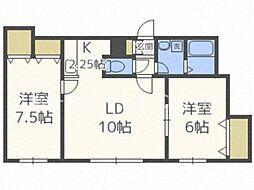 confort 3階2LDKの間取り