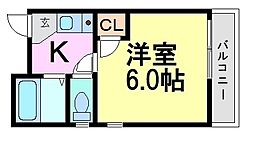 兵庫県尼崎市西難波町4丁目の賃貸マンションの間取り