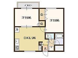 大阪府和泉市観音寺町の賃貸アパートの間取り
