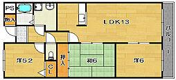 大阪府茨木市沢良宜西1丁目の賃貸マンションの間取り