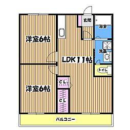 東京都昭島市宮沢町1丁目の賃貸マンションの間取り