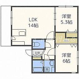 北海道札幌市中央区南十八条西8丁目の賃貸マンションの間取り