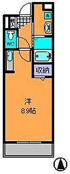 近鉄奈良線 東生駒駅 徒歩2分の賃貸マンション 3階1Kの間取り