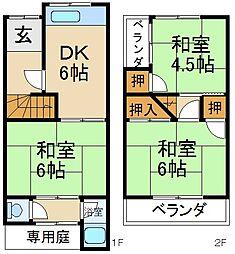 [テラスハウス] 大阪府枚方市北中振3丁目 の賃貸【/】の間取り