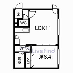 札幌市営東豊線 美園駅 徒歩8分の賃貸マンション 4階1LDKの間取り