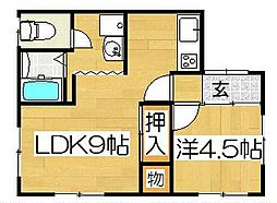 福岡県北九州市戸畑区福柳木2丁目の賃貸アパートの間取り