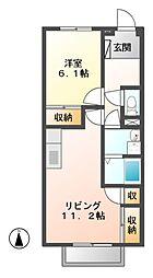 岐阜県美濃加茂市中富町2丁目の賃貸アパートの間取り