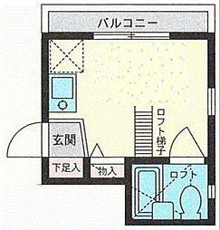 神奈川県横浜市神奈川区栗田谷の賃貸アパートの間取り