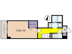 新芦屋ビル 4階1Kの間取り