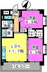 プレジデント大野城[3階]の間取り