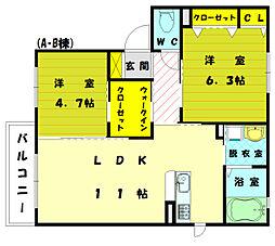 ボンシャンス2 B[2階]の間取り