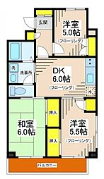 東京都世田谷区千歳台4丁目の賃貸マンションの間取り