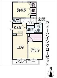 アニマルワン B棟[2階]の間取り