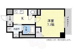阪急京都本線 高槻市駅 徒歩14分の賃貸マンション 6階1Kの間取り