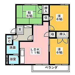 プラムハウス B棟[1階]の間取り