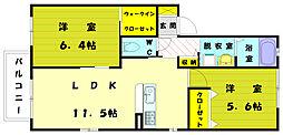 福岡県福津市日蒔野5丁目の賃貸アパートの間取り