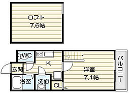 大阪府大阪市生野区中川6丁目の賃貸アパートの間取り