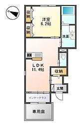 JR高徳線 吉成駅 徒歩34分の賃貸アパート 1階1LDKの間取り