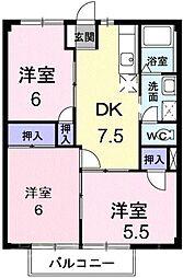 広島県広島市安芸区船越6丁目の賃貸アパートの間取り