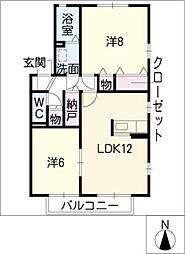 愛知県名古屋市緑区大清水5丁目の賃貸アパートの間取り