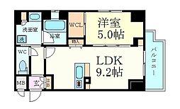 JR大阪環状線 大阪駅 徒歩7分の賃貸マンション 5階1LDKの間取り