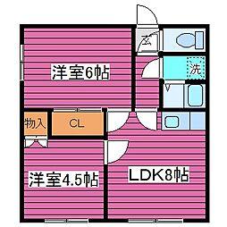 北海道札幌市北区篠路一条8丁目の賃貸アパートの間取り