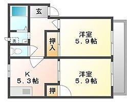 岡山県倉敷市二日市の賃貸アパートの間取り